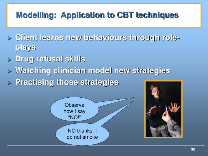 Modelling:  Application to CBT techniques