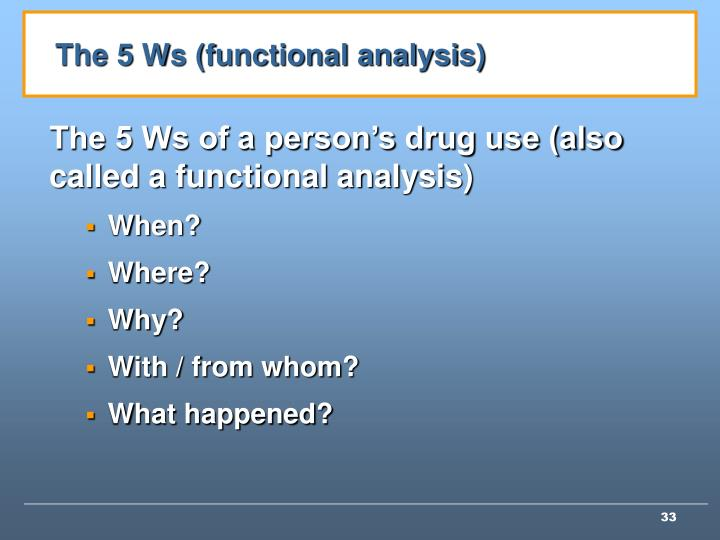 The 5 Ws (functional analysis)