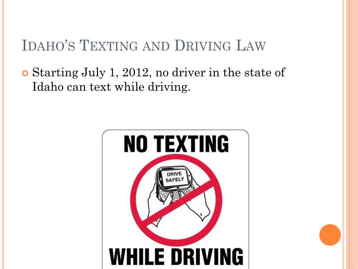 Idaho's Texting and Driving Law