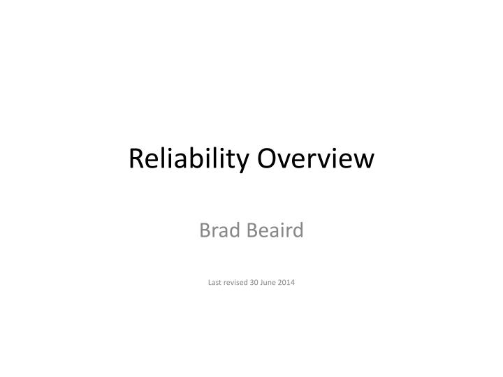reliability overview n.