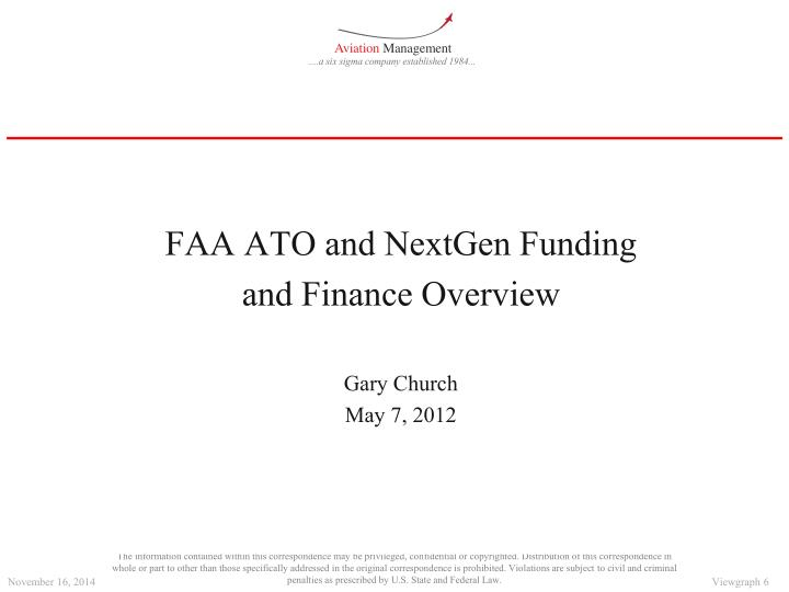 FAA ATO and NextGen Funding