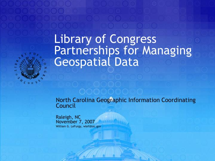 library of congress partnerships for managing geospatial data