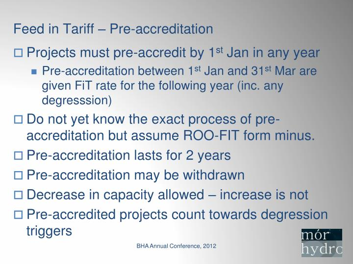 Feed in Tariff – Pre-accreditation