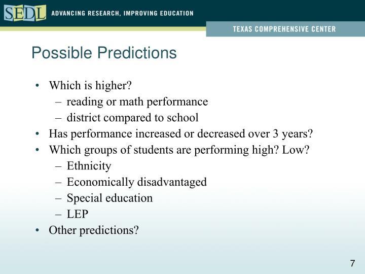 Possible Predictions