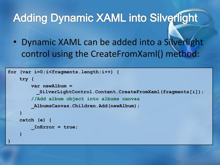 Adding Dynamic XAML into