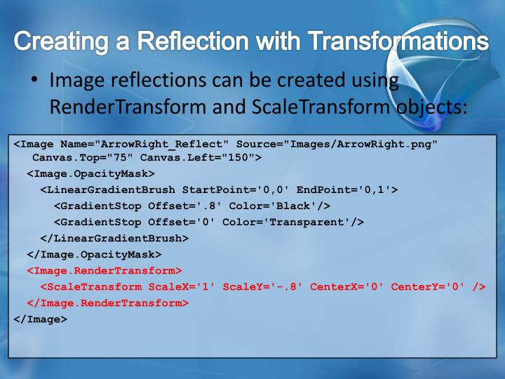 Creating a Reflection with Transformations