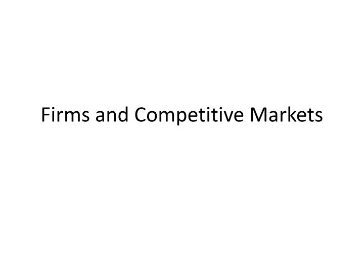 firms and competitive markets n.