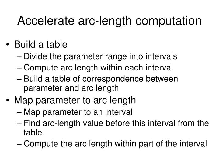 Accelerate arc-length computation