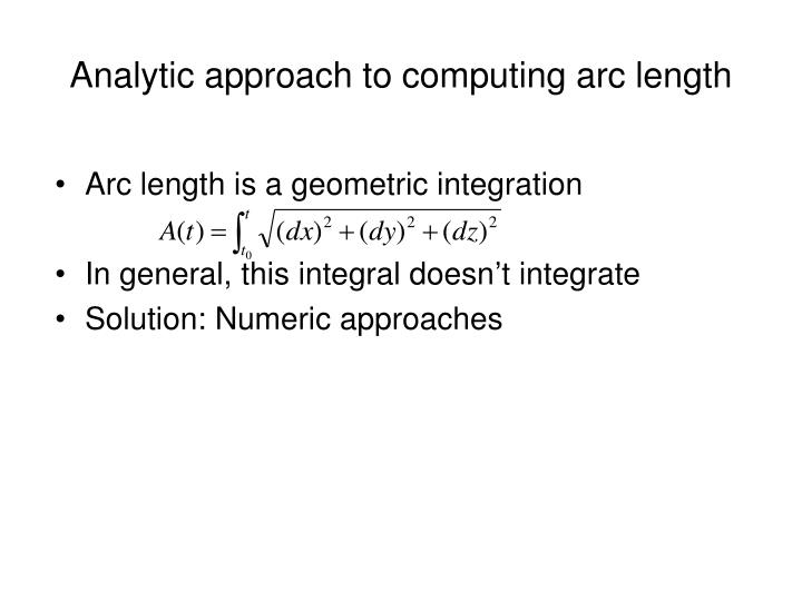 Analytic approach to computing arc length
