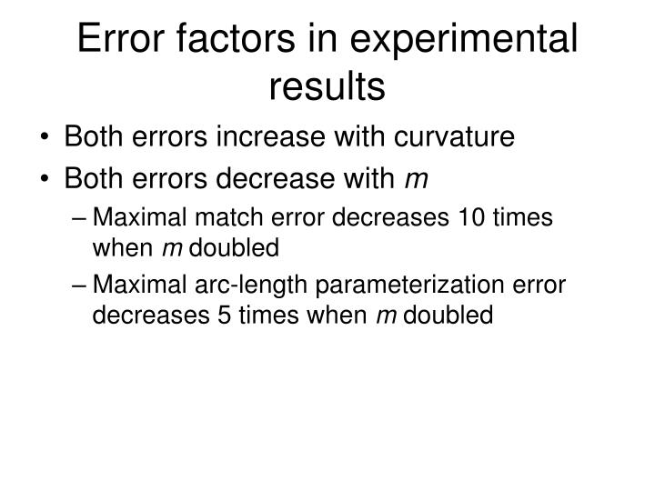 Error factors in experimental results