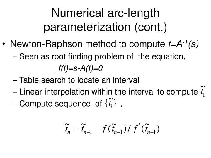 Numerical arc-length parameterization (cont.)