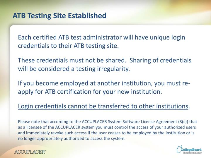 ATB Testing Site Established
