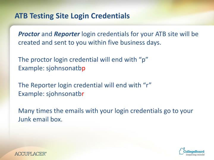 ATB Testing Site Login Credentials