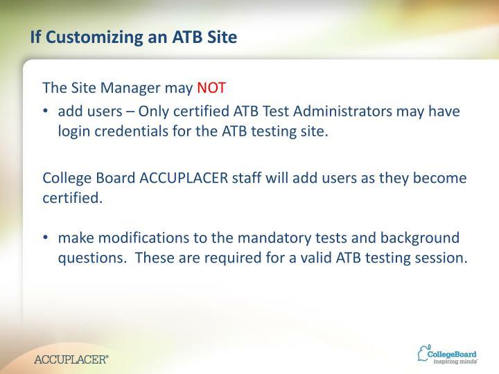 If Customizing an ATB Site