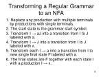 transforming a regular grammar to an nfa