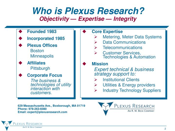 Who is plexus research objectivity expertise integrity