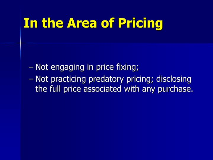 In the Area of Pricing