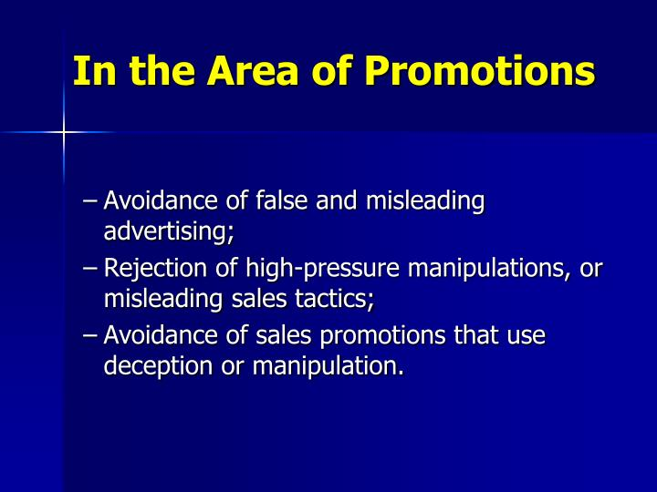 In the Area of Promotions