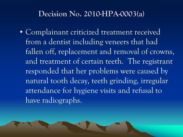 Decision No. 2010-HPA-0003(a)