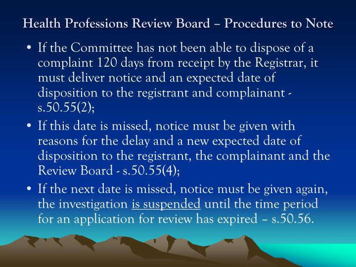 Health Professions Review Board – Procedures to Note