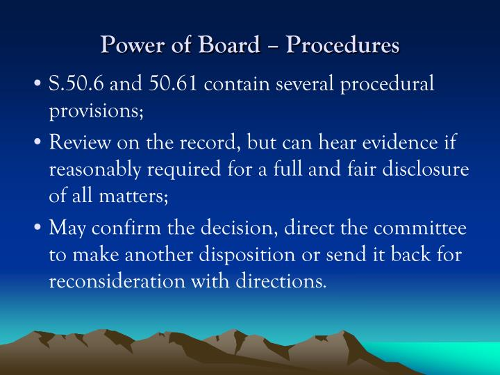 Power of Board – Procedures