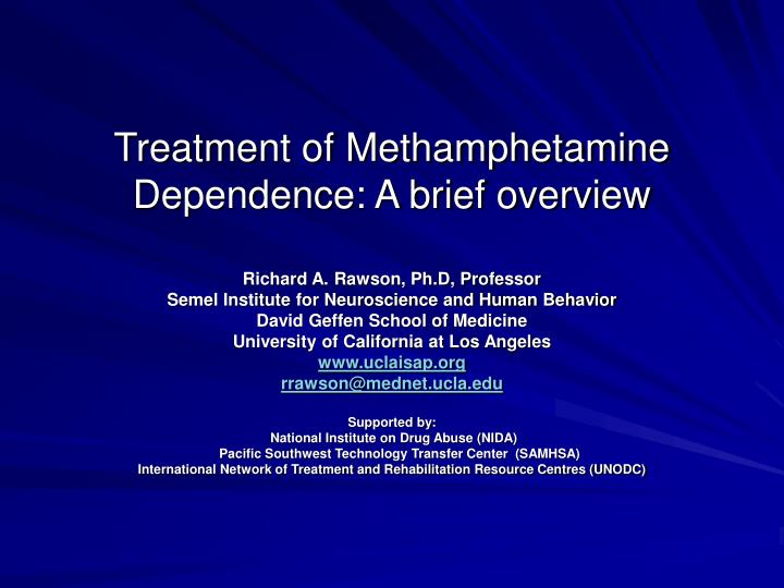 treatment of methamphetamine dependence a brief overview n.