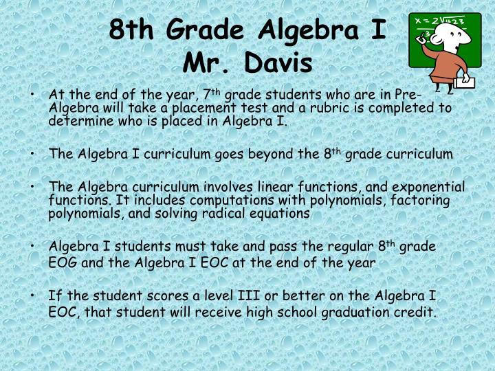 8th Grade Algebra I