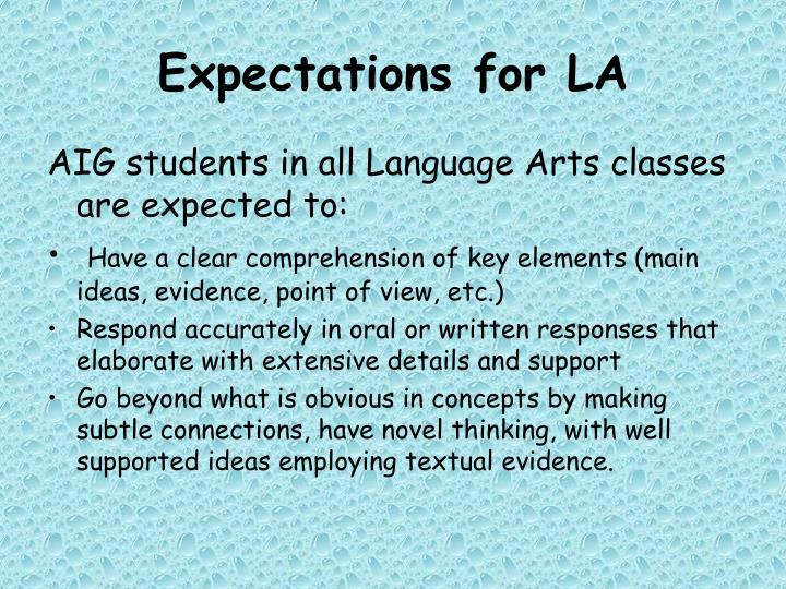Expectations for LA