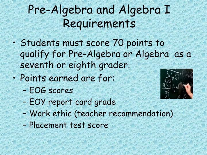 Pre-Algebra and Algebra I Requirements