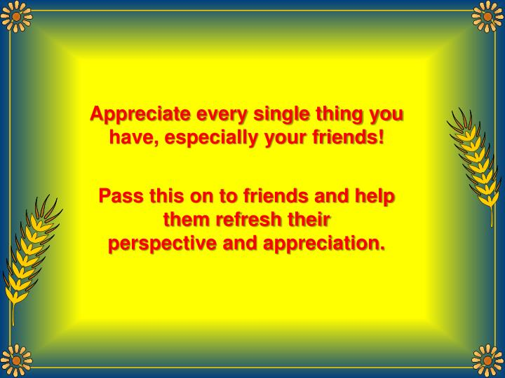 Appreciate every single thing you have, especially your friends!