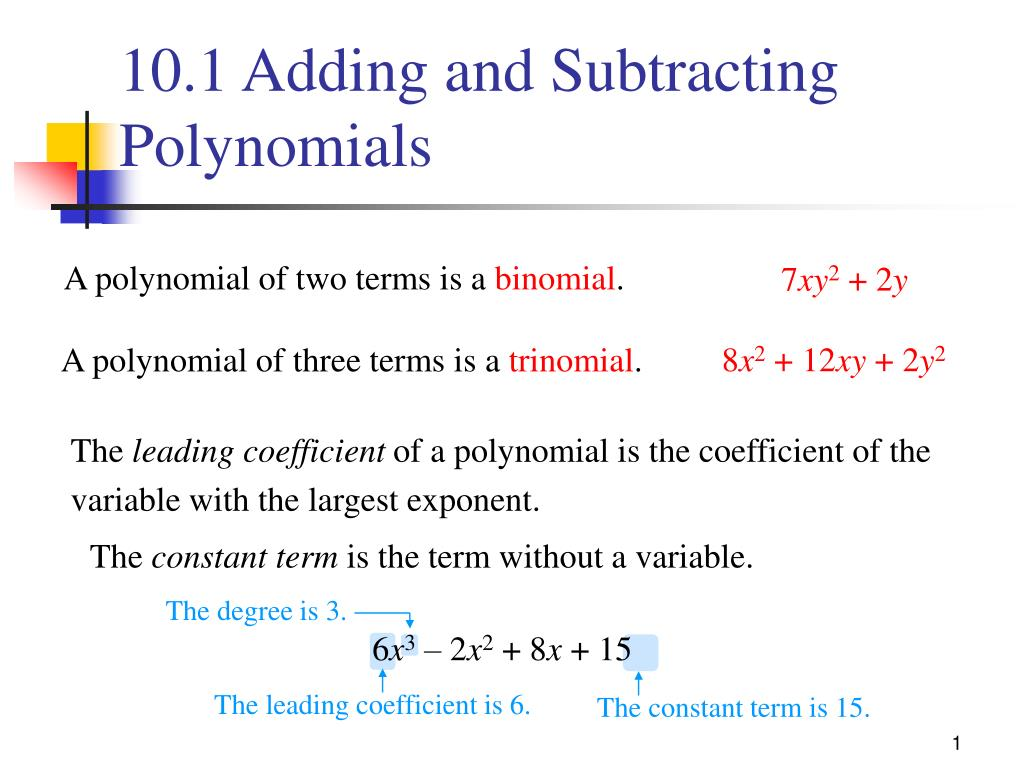 ppt 10 1 adding and subtracting polynomials powerpoint