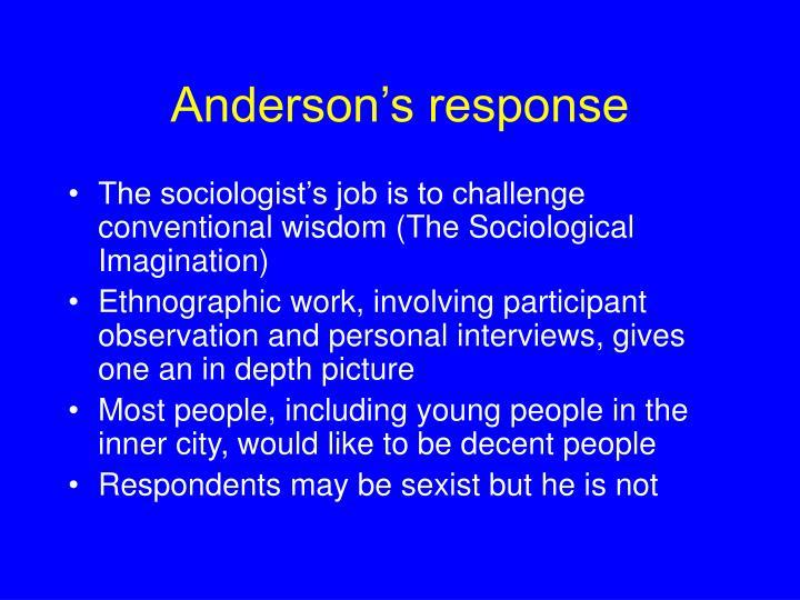 Anderson's response