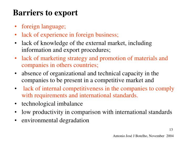 Barriers to export