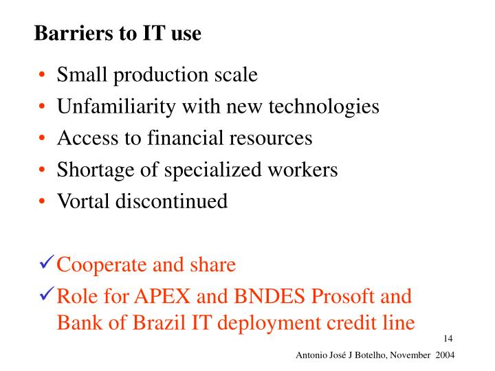 Barriers to IT use