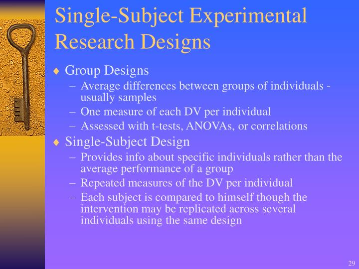 Single-Subject Experimental Research Designs