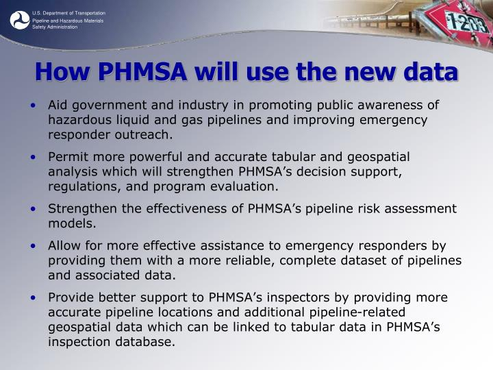 How PHMSA will use the new data