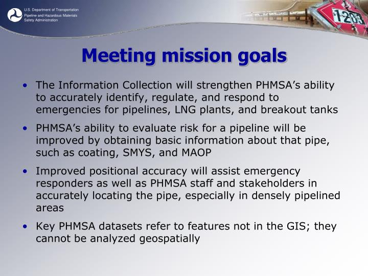 Meeting mission goals