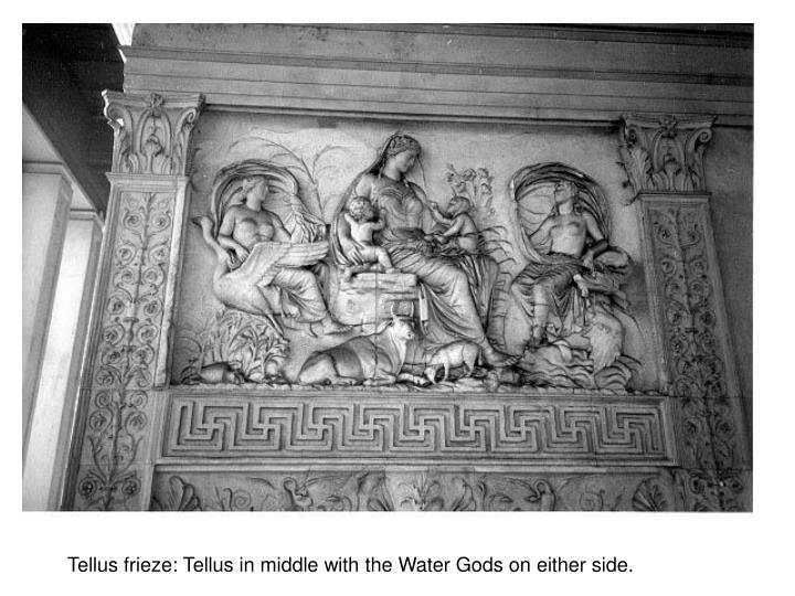 Tellus frieze: Tellus in middle with the Water Gods on either side.