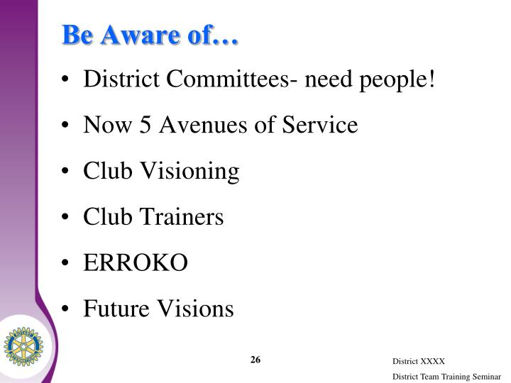 Be Aware of…