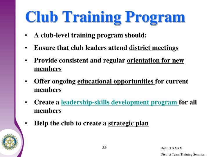Club Training Program