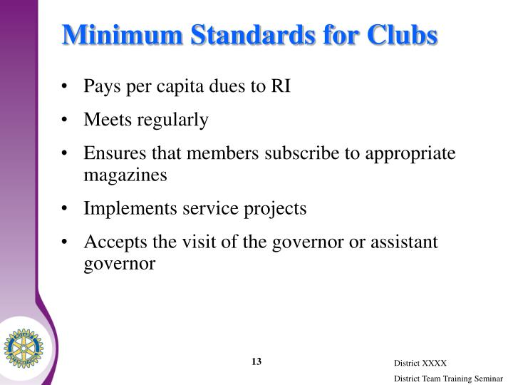 Minimum Standards for Clubs