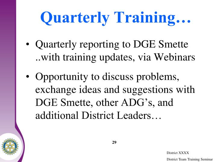 Quarterly Training…