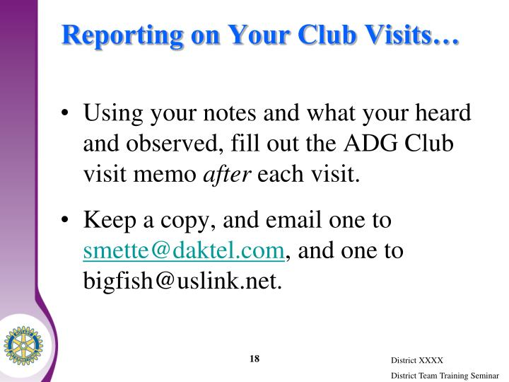 Reporting on Your Club Visits…