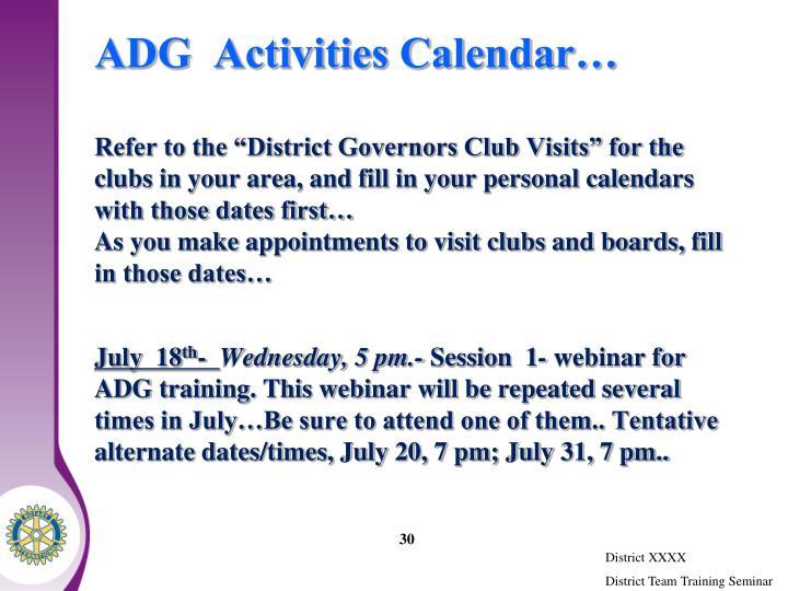 ADG  Activities Calendar…
