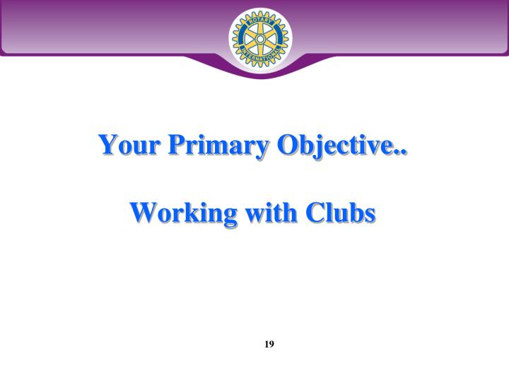 Your Primary Objective..