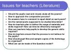issues for teachers literature