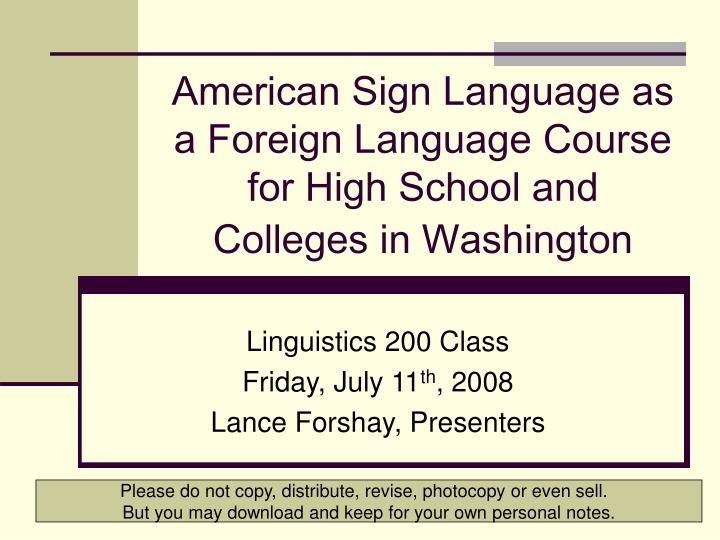 American sign language as a foreign language course for high school and colleges in washington