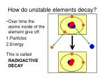 how do unstable elements decay