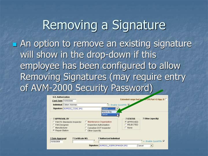 Removing a Signature