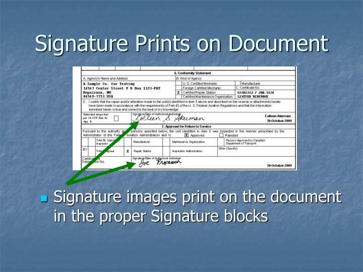 Signature Prints on Document